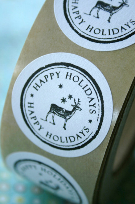 Christmas Stickers - Vintage Reindeer and Snowflake- 1.5 inch