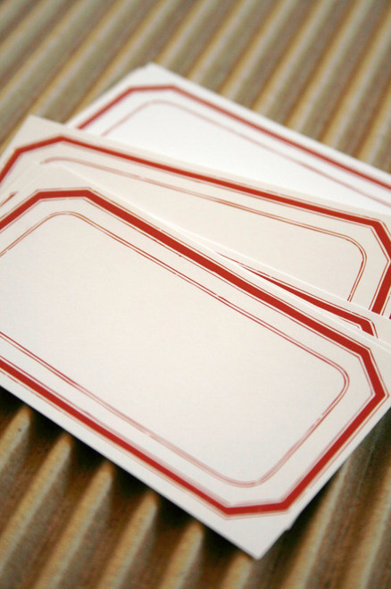 Packaging and Gift Stickers - 2 x 3.5 Matte Finish - Vintage Style Red Outline