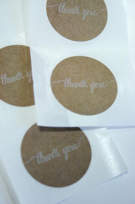 """Sticker - Round Brown Kraft 1.5 inch """"Thank You"""""""