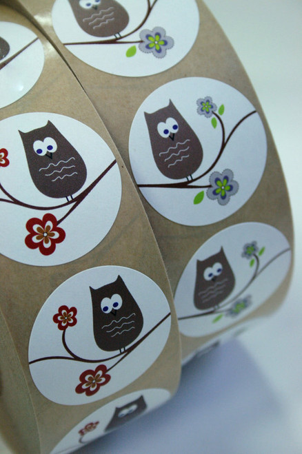 Sticker - Owl on a Tree Branch (Blue Accent) 1.5 inch White