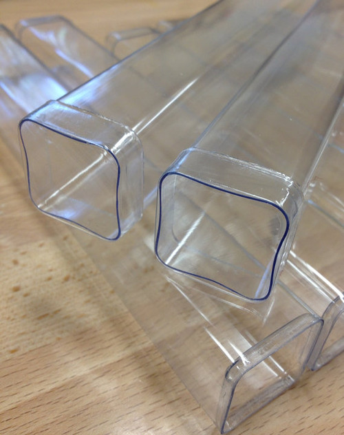 FDA Clear Plastic 8 Inch Square Gumball or Candy Favor Tubes