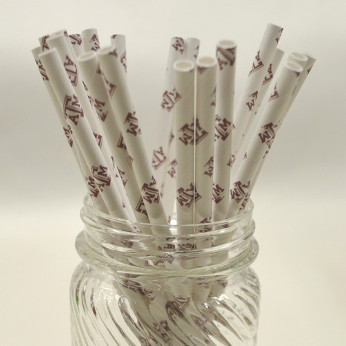 Texas A&M Logo Paper Drinking Straws - made in USA