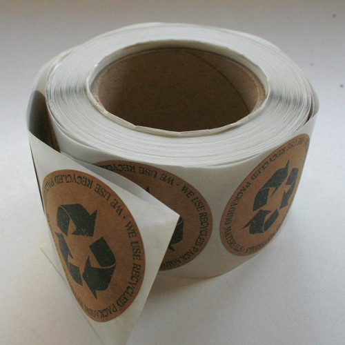 Recycled Packaging Sticker - 2.5 Inch Round Stickers - Recycled Brown Kraft