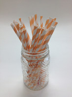 Peach Stripe Paper Drinking Straws - made in USA