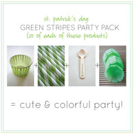 St. Patrick's Day Party Pack - Ice Cream Cups - Straws - Spoons - Portion Cups
