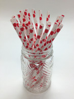 Red Dots Paper Drinking Straws - made in USA