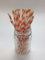 Pumpkin Stripe Paper Drinking Straws - made in USA