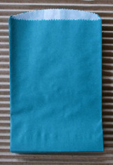 Teal Glassine Lined Paper Gourmet Bakery Bags - 4 3/4 x 6 3/4 Inches