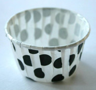 Polka Dot Nut or Portion Paper Cups - White with Black