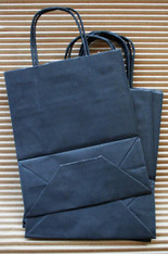 Set of 10 - Black Paper Handled Shopping Bags - White Kraft Interior - 7 x 8.5 x 3 Inches