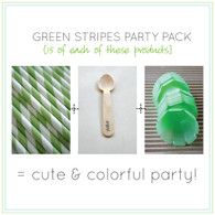 Party Pack - Green Tulip Ice Cream Cups - Green Straws - Stamped Wooden Spoons