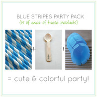 Party Pack - Blue Tulip Ice Cream Cups - Blue Straws - Stamped Wooden Spoons