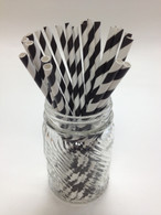 Black Stripe Paper Drinking Straws - made in USA
