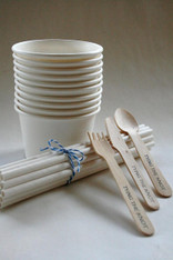 White Party Pack - Ice Cream Cups - Paper Straws - Stamped Spoons