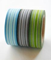 Washi Tape Set - 15mm - Combination C - Stripes Theme - Three Rolls - No. 121/122/123
