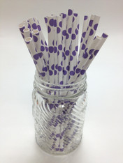 Purple Dots Paper Drinking Straws - made in USA