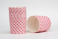 Pink Polka Dots Nut or Portion Paper Cups with Scalloped Tops