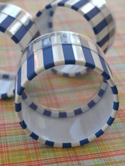 One Dozen Favor or Storage Boxes with Clear Lids and Bottoms - Plastic - Blue Striped