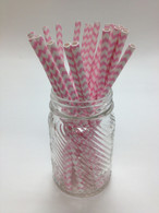 Cotton Candy Pink Chevron Paper Drinking Straws - made in USA