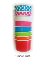 Mixed Color Party Pack - Four Ounce Ice Cream Cups & Wooden Spoon Set
