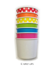 Mixed Color Party Pack - Twelve Ounce Ice Cream Cups & Wooden Spoon Set