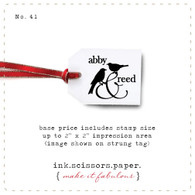 Customized Red Rubber Wood Stamp - Two Birds and Ampersand