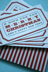 Christmas Gift Cards  -  Two Sided - Vintage Style Design and Stripes w/Twine