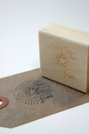 "Christmas "" To:   From: "" Red Rubber Gift Stamp-Vintage Design - Starburst"