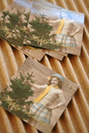 Packaging and Gift Stickers - 2 x 2 Glossy - Vintage Style Girl with Christmas Tree