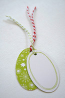 Heavy Gift Tags - Oval Shaped Green Snowflake Design with Twine