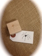 "Halloween Themed - Spider - 1"" Wood Mounted Red Rubber Stamp with Engraved Top"
