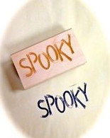 "Halloween Themed - Spooky - 2 x 1"" Wood Mounted Red Rubber Stamp with Engraved Top"