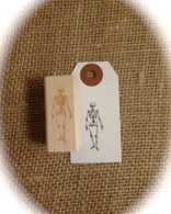 "Halloween Themed - Large Skeleton - 1.5 x .5"" Wood Mounted Red Rubber Stamp with Engraved Top"