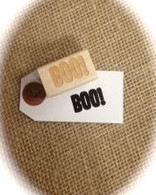 "Halloween Themed - BOO - 1 x 1/2"" Wood Mounted Red Rubber Stamp with Engraved Top"