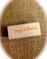 "Halloween Themed - Happy Halloween - 1/2 x 1.5"" Wood Mounted Red Rubber Stamp with Engraved Top"