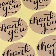 "Sticker - Brown Kraft 1.5 inch Round ""Thank You"" - Set of 12"