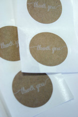 "Sticker - Round Brown Kraft 1.5 inch ""Thank You"""