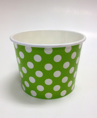 Ice Cream Cups Lime Green Polka Dots 16 oz. Paper