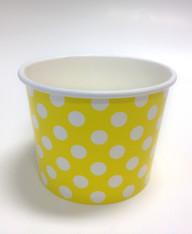 Ice Cream Cups Bright Yellow Polka Dots 16 oz. Paper