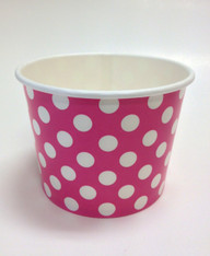 Ice Cream Cups Hot Pink Polka Dots 16 oz. Paper