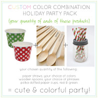 Christmas Polka Dot Party Packs - Cups - Paper Straws - Wooden Message Spoons