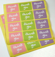 "Sticker - ""Thank You"" Rectangle in Three Spring Colors"