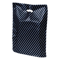 Silver Striped Plastic Merchandise Bag