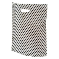 Frosted Black Stripe Plastic Merchandise Bag