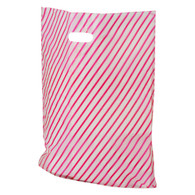 Frosted Pink Stripe Plastic Merchandise Bag