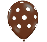 Premium Large Round Latex Party Balloons - Chocolate Brown Polka Dot