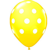 Premium Large Round Latex Party Balloons - Yellow Polka Dot