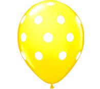 Premium Large Round Latex Party Balloons - Yellow Polka Dot