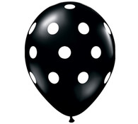 Premium Large Round Latex Party Balloons - Black Polka Dot