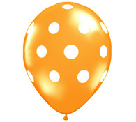 Premium Large Round Latex Party Balloons - Orange Polka Dot